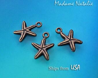Starfish Charms (10), Bronze Starfish Charms, Sea Star Charms, Brass Tone Marine Life Charms, Ocean Life Findings, Starfish Charm Bracelet