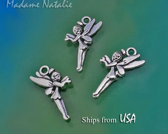 Fairy Charms Double Sided (10), Antique Silver Tone Charms, Nymph Charms, Fairies Charms, Charm Bracelet, Cute Fairy Charm, Little Angel