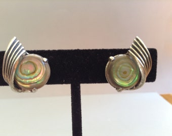 Sterling Silver Abalone Screw Back Earrings