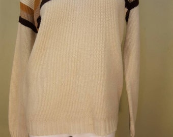 Vintage 1970s Cream Colored Pullover Sweater