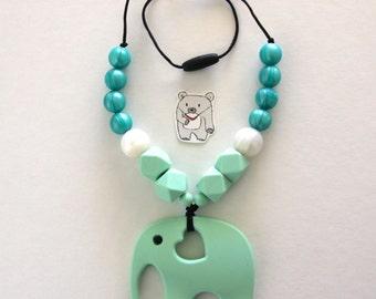 Mint elephant silicone necklace