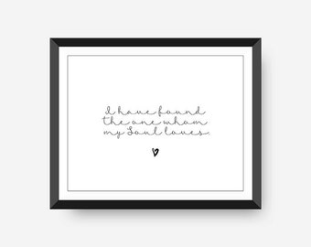 I have found the one my Soul Loves Wedding Wall Art Gift Idea for Her Love Quote Christian Wall Art Typography Poster Wedding Gift
