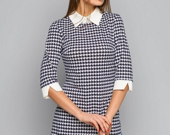 Houndstooth dress Peter Pan collar Dogtooth dress Pied-de-poule dress Border tartan dress Pied de poule Dress white collar Dress with collar