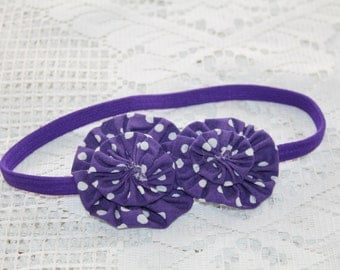 Purple/White Polkadot Stretchy Headband