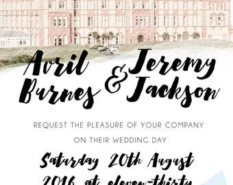 Personalised Wedding Venue Invitation Set Suite | Arrow Wedding Invitations | Vintage Printable Wedding Invitation | with RSVP and Info Card