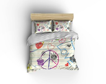 Childrens Duvet cover,Kids crazy color bedding,Primary colors,fun shapes,Back to Basics Duvet covers.