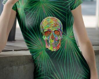 Psychedelic Skull t-shirts, Skull shirts,shirts,ladies t-shirts,Dia De Los Muertos shirts,Halloween T-shirts,Sugar skull shirts.Creepy shirt