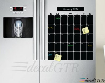 Fridge Calendar - Refrigerator Chalkboard Calendar Decal - Kitchen Vinyl  Sticker - kitchen chalk board - black board adhesive - C017