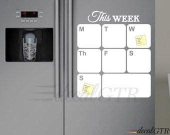 Fridge Calendar Decal - Fridge Dry Erase Weekly Planner Decal - Refrigerator White Board Decal - white vinyl calendar decal - D016