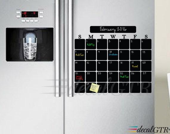 Weekly Refrigerator Calendar : Refrigerator chalkboard calendar decal fridge vinyl