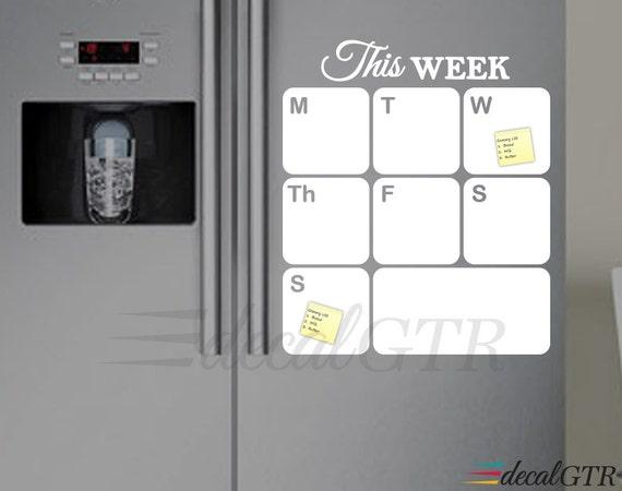 Weekly Refrigerator Calendar : Fridge calendar decal dry erase weekly planner