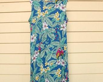 "Vintage Hawaiian Maxi Dress/Floral Maxi Dress/Fashion Fantasy Vintage Parrot Dress/Size XL/Runs Small/52""Long/20""Chest/*FREE Gift Wrap*"