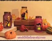 Halloween Mason Jar Candle Holder-Fall Décor-Outdoor lighting-Mason Jar Lanterns-Mason Jar lignting-Tea lights-HomeDécor-Halloween Décor
