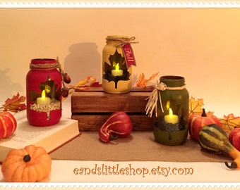 Fall Mason Jars-Thanksgiving Décor-Fall Mason Jar Lanterns-Leaf Mason Jar -Mason Jar Decor-Wedding-Fall decor-Halloween decor