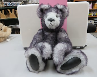Grey and Black Synthetic teddy Bear