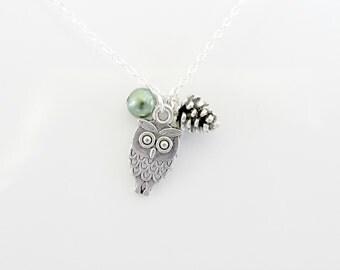 Owl And Pine Cone Tibetan Charm Necklace Owl Pendant