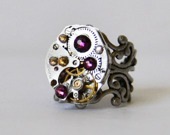 Amethyst Birthstone Ring Steampunk Ring Steam Punk Jewelry Watch Ring Vintage Watch Jewelry Adjustable Silver Ring