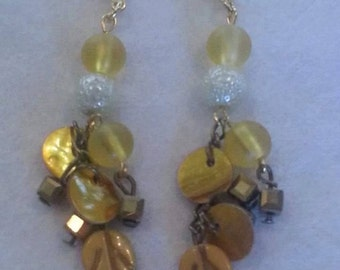 Gold leaf dangle earrings