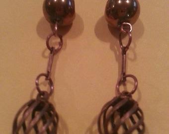 Copper cage earrings