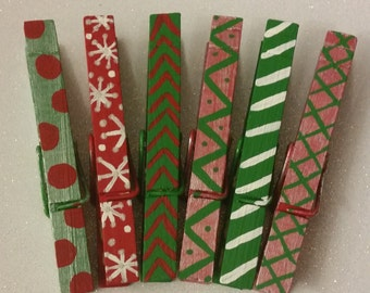 Christmas Theme Clothes Pins- Set of 6