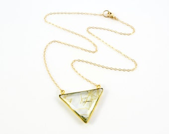Gold Rutilated Quartz Necklace, Triangle Necklace, Geometric Necklace, Triangle Pendant, Gift For Her, Gold Rutilated Quartz Pendant