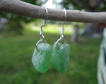 Green Sea Glass Earrings, Well Frosted Green Sea Glass earrings, Maine Sea Glass Earrings