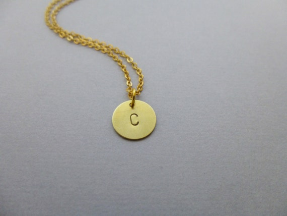 circle charm necklace gold initial jewelry disc pendant