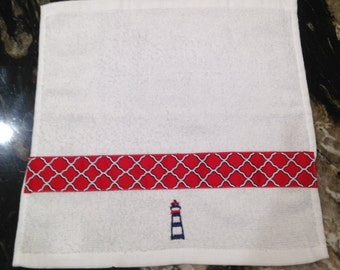 Nautical Washcloth, One (1) washcloth Red Navy White with Embroidered Lighthouse, Facecloth, Nautical Red White and Blue, Cotton Washcloth