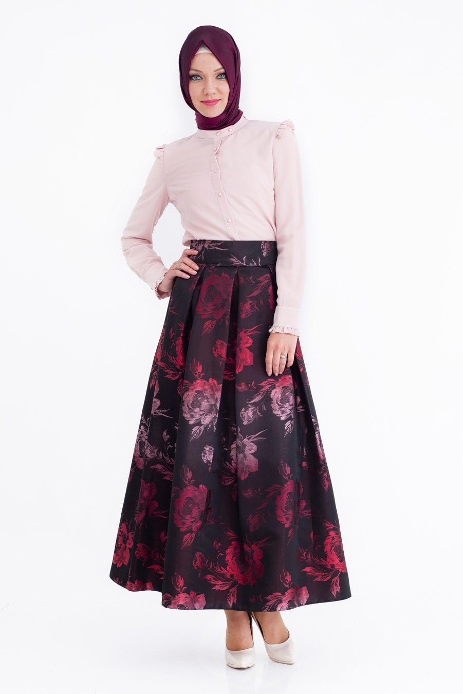 evening maxi skirt floral skirt brown by