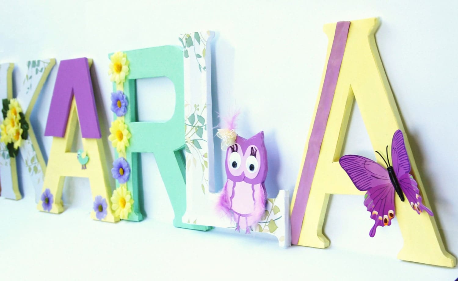 Custom made wall letters for nursery baby 39 s name for Baby room decoration letters