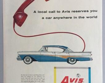 1958 Avis Rent-a-Car Print Ad