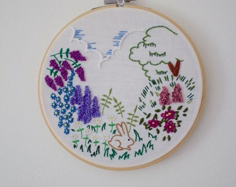 Bunny Flower Garden Hand Embroidery