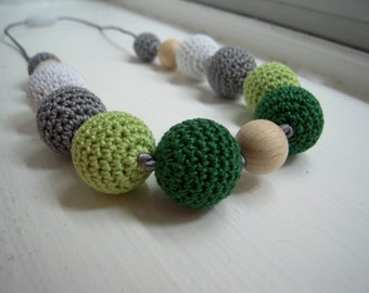 SALE 30%  Crocheted and wood beads necklace