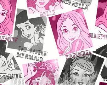 Knit Fabric - Disney Princess Photos Pink - Fat Quarter Yard +