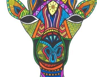 Bright, Colorful Modern Giraffe Art Print, Unique, Affordable Home Decor
