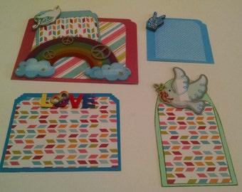 Peace, Love, and Rainbows Scrapbook Embellishments ~ 5 Piece Embellishment Set