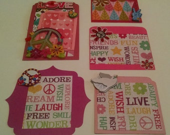 Pink Peace and Love Scrapbook Embellishment Set ~ 6 Piece Embellishment Set