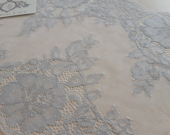 Silver yarn Lace trimming, Chantilly Lace Trim  MK00021