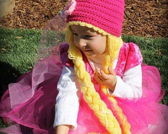 Fairy Tale Princess hat// Rapunzel Tangled costume// Princess Gnome hat// Crochet Princess hat with long hair//Rapunzel