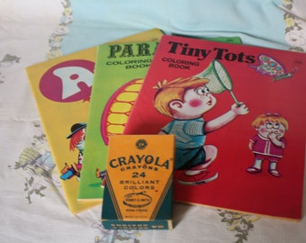 1960's Never Used Coloring Books and Crayola Crayons #242