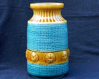 Beautiful typical vase from Seventies by Bay W.-Germany model 88 17 preussian blue and ocher