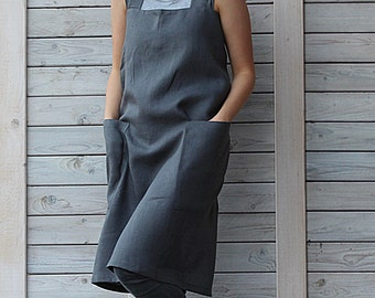 Full linen apron / Cross back apron / Linen Pinafore