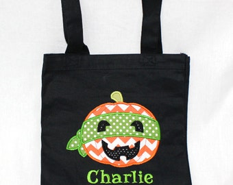 Halloween Trick or Treat Bag, Halloween Tote Bag, Personalized Trick or Treat Bag - Canvas Bag with Appliqued with Super Hero Pumpkin
