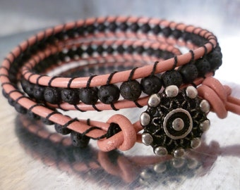 Flamingo Bracelet. Two wrap leather bracelet. Chan Luu style. Boho chic. Casual jewelry. Christmas gift.