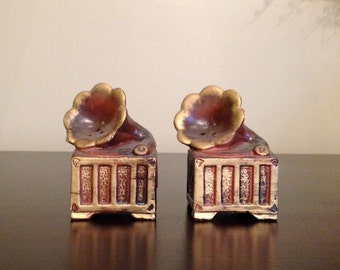 Vintage Victrola Record Player Salt and Pepper Shakers
