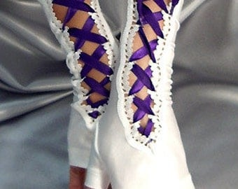 Long Spandex white lace up fingerless gloves purple satin ribbon