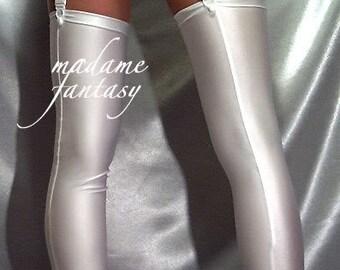 Shiny white spandex stockings