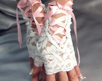 White lace up fingerless gloves baby pink satin ribbon