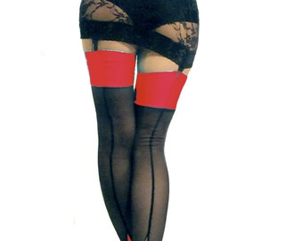 Seamed cuban heel power net stockings Black Red spandex top