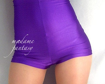 High waisted shiny spandex purple shorts Hot pants